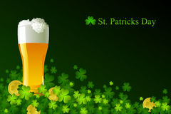 Frosty glass of light beer for St Patrick's Day Royalty Free Stock Photos