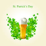 Frosty glass of light beer for St Patrick's Day Stock Photo