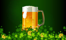 Frosty glass of light beer for St Patrick's Day Royalty Free Stock Photography