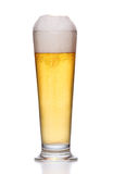 Frosty glass of light beer on white Stock Photo