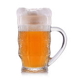 Frosty glass of unfiltered beer isolated on a white background Royalty Free Stock Photography