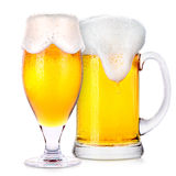 Frosty glasses of light beer isolated Royalty Free Stock Photography