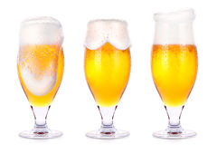 Frosty glasses of light beer isolated Royalty Free Stock Photo