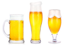 Frosty glasses of light beer isolated Stock Photo