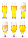 Frosty glasses of light beer isolated Stock Images