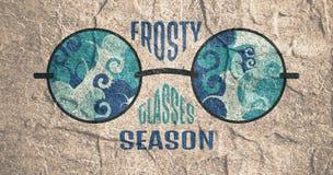 Frosty Glasses och släktingtext Royaltyfri Bild
