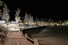 Frosty harbor walk. On a walk on a cold but beautiful winter evening in Lule Stock Photography