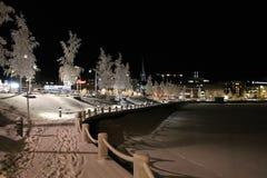Frosty harbor walk Stock Photography
