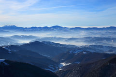 Frosty haze over the valley Royalty Free Stock Photos
