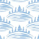 Frosty hills. Vector pattern with hills and pine trees Royalty Free Stock Photos
