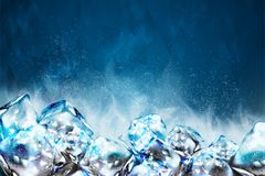 Frosty ice cubes background. In blue tone, 3d illustration vector illustration