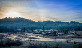 Frosty Idaho Mountain Spring Sunrise Arkivbilder
