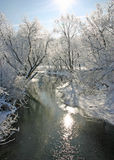 Frosty Iowa Morning. Indian Creek Marion Iowa Mid-morning stock photo