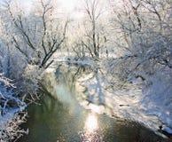 Frosty Iowa Sunrise. Indian Creek in Marion Iowa early winter morning stock image