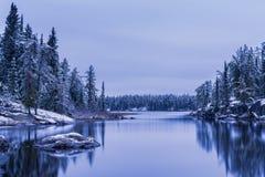 Frosty lake. Cold morning at the lake Stock Photos
