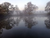 Frosty lake. Lake on a frosty winters morning cold frost Royalty Free Stock Photo