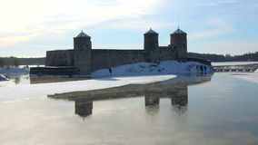Frosty March morning at the fortress Olavinlinna. Savonlinna, Finland timelapse. Frosty March morning at the fortress Olavinlinna. Savonlinna. Finland timelapse stock video footage