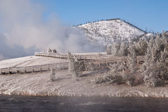 Frosty Morning. Ice and snow coat the trees and boardwlk at Grand Prismatic Geyser royalty free stock photos