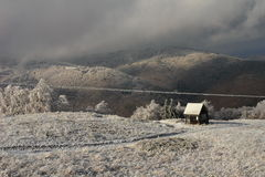 Frosty morning in mountains Stock Image