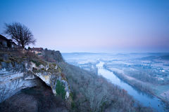A frosty morning at Domme. Royalty Free Stock Images