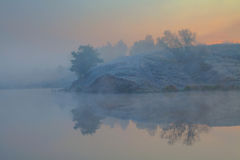 Frosty morning on a lake. Royalty Free Stock Photography