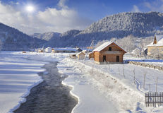Frosty morning in the mountain village Royalty Free Stock Photography
