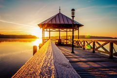 Frosty morning in Neuruppin, germany. A cold, frosty morning on a Bridge while sunrise in Germany stock photo
