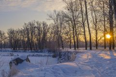 Frosty morning on the river. Stock Images
