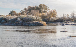 Frosty morning on the river. Stock Photos