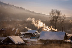 Frosty morning in Russian village. South Urals. Russia Stock Images