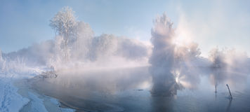 Frosty morning. Stitched Panorama Minsk Belarus ice Stock Photography