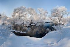 Frosty morning. Stitched Panorama Minsk Winter Belarus Royalty Free Stock Image