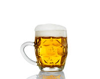 Frosty mug of beer isolated on white background.  Royalty Free Stock Photos