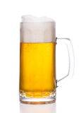 Frosty mug of light beer on white. Background Stock Images