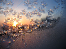 Frosty natural pattern and sun. On winter window Stock Image