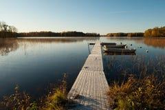 Frosty October morning. At Lake Annsjon, Ostergotland, Sweden Stock Image
