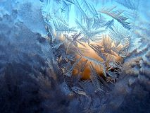 Frosty pattern. On winter window Royalty Free Stock Photos