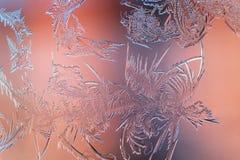 Frosty pattern on glass Stock Photos
