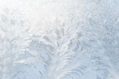 Frosty pattern on the glass. Frosty pattern cerulean on the glass Royalty Free Stock Photos