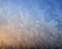 Frosty pattern on glass winter window Royalty Free Stock Photos