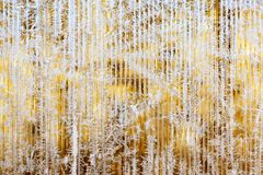 Frosty pattern of hoarfrost and snowflakes on striped glass, winter or Christmas background, texture royalty free stock image