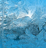 Frosty pattern on pane. Ice on pane - beautiful frosty pattern Stock Photo