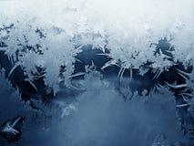 Frosty pattern on window stock photos