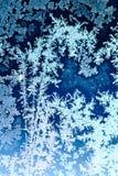 Frosty pattern on window glass. In winter Royalty Free Stock Photo