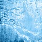 Frosty pattern on window in winter season Royalty Free Stock Images