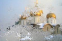 Frosty pattern at a winter window glass Stock Image