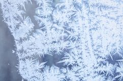Frosty patterns. On the window Stock Photography