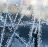 Frosty patterns on glass. Texture of frosty patterns on the window glass royalty free stock photo
