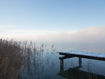 Frosty Pier In Dense Winter Fog With Reeds Stock Images