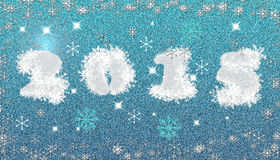 Frosty premise 2015. Greeting the New Year 2015. Frosty snowflakes on a blue background Stock Image